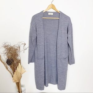 Pigment | Long Gray Open Cardigan | OS
